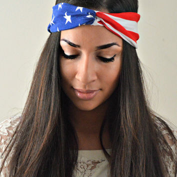 Patriotic Dolly bow headband, American Flag head band, hair bow