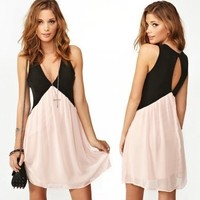 Contrast color stitching on the back hollow out chiffon vest dress | fashion1