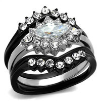 Black & Silver Stainless Steel CZ Wedding Ring Set