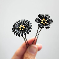 Black flower hair pins set of 2 hairpins floral matte black flower golden flower hair clip hair bun
