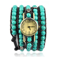 Green Turquoise Beads Wrap Around Watch
