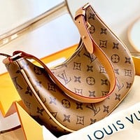 LV New fashion monogram print leather shoulder bag handbag Brown
