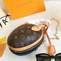 LV Fashion New Monogram Print Round Shopping High Quality Shoulder Bag Women