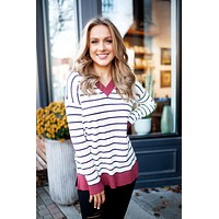 Want Me Back Striped Sweater (Rust/Ivory) FINAL SALE