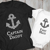Captain daddy first mate father son matching shirts, Captain daddy first mate father son matching T-shirts, 100% cotton Tee, UNISEX