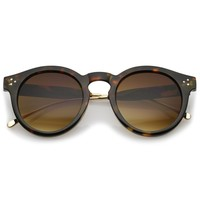 Metal Temple Keyhole Bridge Neutral-Colored Lens P3 Round Sunglasses 50mm