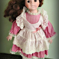 Vintage porcelain doll, collectible, Brown hair, pink dress, home decor, gift