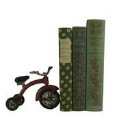 Vintage Decorative Book Accent Set in Green