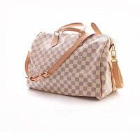 Canvas Cross Body Handbag Speedy Bandouliere Style Bag Azur 30 cm with Leather Handle for Boys Girls Men Women Perfect for Gym, Travelling and Daily Uses