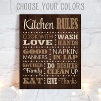 KITCHEN RULES Wall Art, Dining Room Decor, Canvas or Print Kitchen Rules, Cooking Quotes, Kitchen Wedding Gift, Chef Sign, Single 1