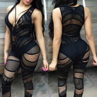 Black Hot Sexy Sheer Lace Club Catsuit