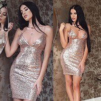 Luxury Party Club Wear Mini Sequined Dress
