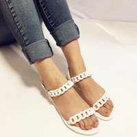 2016 women woman summer shoes plastic beach candy jelly sandals chain flat bottomed out toe sandals ladies student  casual shoes