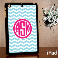 iPad Mini Hard Case - Chevron Monogram Blue and Pink - Tablet Cover IPM