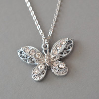 butterfly necklace,  Papillon, best friend necklace, bridesmaid gift, butterfly jewelry, birthday present, silver butterfly, graduation gift