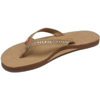 Womens Rainbow Sandals Single Layer Narrow Strap White Crystal Sierra Large (7.5-8.5)