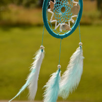 Waves Over Seashells, Light Blue Dreamcatcher with natural Seashells and Amazonite gemstone, plastic beads, wall hanging, wall decor