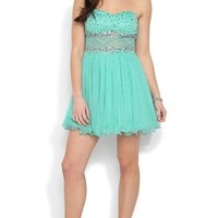 Strapless Short Prom Dress with Stone Illusion Waist and Mesh Skirt