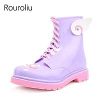 Women Ankle Length Lace Up Rain Boots/ Rubber Boots