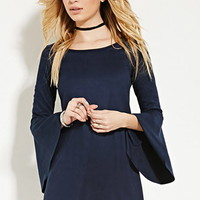 Faux Suede Trumpet-Sleeve Dress
