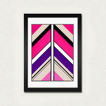 Abstract art print. Print from original geometric painting with pink, purple, fuchsia.