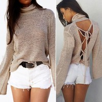 Open Back Loose Fit Sweater 4 Colors