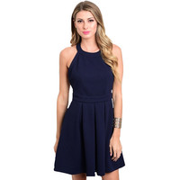 Navy Round Neck Dress