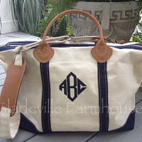 Monogrammed Canvas Tote Duffel Bag with Leather Trim