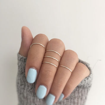 5 silver knuckle rings,silver ring set,midi ring set of 5,knuckle rings,wire jewelry,silver rings,stacking ring set of 5,adjustable rings