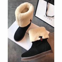 ONETOW Best Online Sale Gucci Snow Wool Boots Black Women Gaotong Boots Thickened Flat Shoes