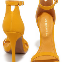 Boldest Trick in the Book Yellow Nubuck Ankle Strap Heels