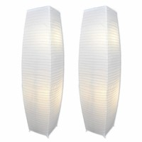 Chrome Floor Lamp Set with Pure-White Paper Shades