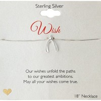 """Sterling Silver Wishbone Pendant Necklace, 18"""""""