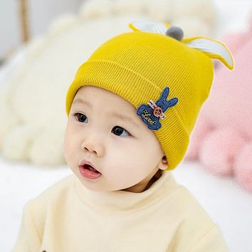 Knitted Pure Cotton Baby Hooded Hat Single Hat Autumn And Winter Wave Boys And Girls Baby Cartoon Cute Hat