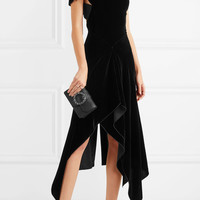 Roland Mouret - Wren cutout asymmetric draped velvet midi dress