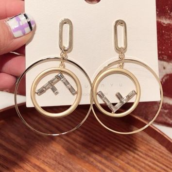 FENDI Fashion Women Exaggerated F Letter Zircon Circular Pendant Earrings Accessories Jewelry Golden
