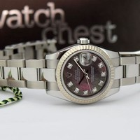 Rolex Lady Datejust Gold Steel Black Mother Pearl Diamond 179174 - WATCH CHEST