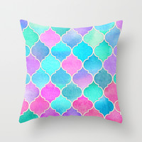 Bright Moroccan Morning - pretty pastel color pattern Throw Pillow by Micklyn