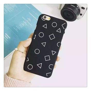 Iphone 6/6s On Sale Hot Deal Hot Sale Cute Stylish Korean Simple Design Geometric Iphone Matte Apple Phone Case [8864221383]