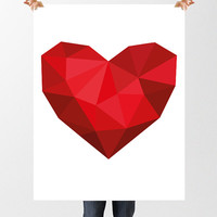 Low Poly Heart, DIGITAL DOWNLOAD, Wall Decor, Valentines Day Art, Shades of Red, Vector Geometric Art, Printable Art, Heart Wall Print, Love
