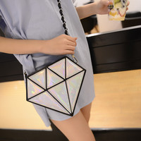 Silver Holographic Diamond Cross Body Bag