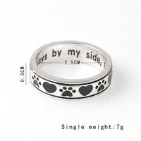 "Engraved ""Always by my side,Forever in my heart"" Dog Pawprint Wrap Ring"