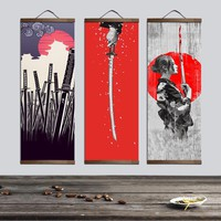 Japanese Ukiyoe for canvas posters and prints decoration painting wall art home decor with solid wood hanging scroll