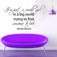 Marilyn Monroe Wall Decal Quote I'm Just a Small Girl Vinyl Stickers Beauty Salon Decal Art Mural Interior Design Girls Bedroom Decor KI161