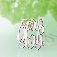 """monogram necklace silver, 925 Sterling silver Rose Gold ,valentines gift, 1"""" 1.25"""" 1.5''  inch, Personalized neckalce,wedding gift"""