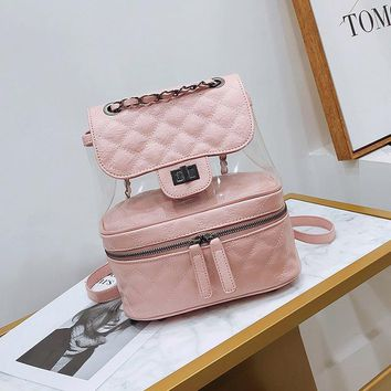 Student Backpack Children Famous Brand 2018 Designer Leather Backpacks Luxury Transparent Bag Large Quilted Plaid Women Backpack Girl Cute Mochila Student AT_49_3
