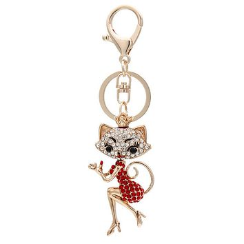 Glamorous Lipstick Lady Cat and Rhinestone Keychains: Pink or Red