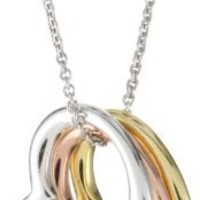 Sterling Silver Tri-Colored Floating Three Heart Pendant Necklace , 18""