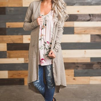 Button Me Up Long Sleeved Cardigan (Oatmeal)