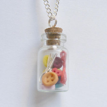 Sewing Kit Pendant, gift for sewer, button necklace, miniature bottle pendant, miniature sewing Dressmaking kit, kawaii Wish Bottle Necklace